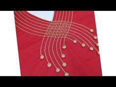 प्लैन कुर्ती को नग बटन और डोरियों से बनाये बेहद खूबसूरत।। Making plain k. Chudidhar Neck Designs, Salwar Neck Designs, Kurta Neck Design, Neckline Designs, Blouse Neck Designs, Kurta Designs, Sleeve Designs, Dress Designs, Kurti Patterns