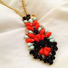 Beautiful Statement Necklace Linger length. Lays beautifully on chest. Wear win lovely simply silk or cotton top and jeans for a pop of color. Boutique. Jewelry Necklaces