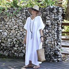 LINNEN, Kaftan, Caftan, Maxi, Resort slijtage, bohemien, tropische kleding, strand jurk, Coverup, zwart, wit, natuurlijke, grijs, goud - 4 maten
