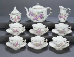 "The Legendary Spielzeug Museum of Davos: 52 Austrian Child's Porcelain Tea Service ""Lilac Time"""