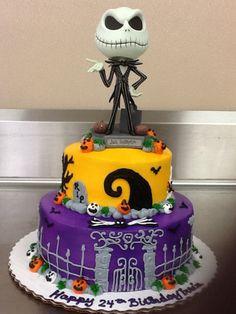 Jack Skellington cake made by my mom for my birthday! Fondant Cakes, Cupcake Cakes, Jack Skellington Cake, Christmas Birthday Party, Birthday Ideas, 14th Birthday Cakes, Artist Cake, Halloween Cookies, Halloween 1