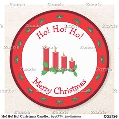 Ho! Ho! Ho! Christmas Candles with Holly Round Paper Coaster