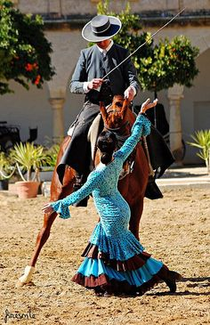 Passion and grace flamenco dancer and horse and rider