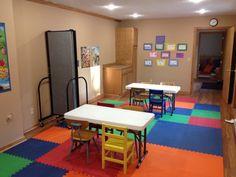 Portable room dividers help manage space in this church preschool #churchpreschool #portablepartition #temporarywall See it @ screenflex.com