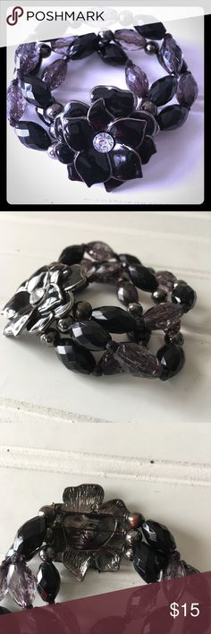 """New York & Company Black Bracelet New York & Company Black Bracelet Width 3"""" not expanded.  Black & Gray beaded bracelet Too cute black flower New never worn.  ✴️See matching necklace in my listing which is sold separately✴️ New York & Company Jewelry Bracelets"""