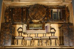 Outstanding Antique Faux-grained Rosewood Dollhouse Furniture in its Original Wooden Box