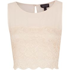 Lace Panel Chiffon Crop Top ($45) ❤ liked on Polyvore