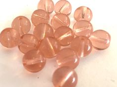 Vintage beads (15) glass Translucent rounds pink peach melon  beads 8mm (15) by a2zDesigns on Etsy