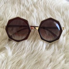 Hexagonal Sunglasses Trend up this summer with these brown and gold hexagonal sunnies  AND they're super light and comfy. Accessories Sunglasses