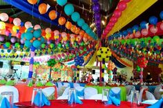 Lucia's Pista sa Nayon Themed Party: Venue Decor Fiesta Party Decorations, Fiesta Theme Party, Party Themes, Party Ideas, Theme Parties, Mom Birthday, 1st Birthday Parties, Rainbow Balloons, Party Planning