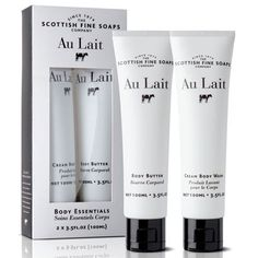 Au Lait Body Essentials Kit (Cream Body Wash + Body Butter) 2 x 100 ml / 2 x Fl. from SCOTTISH FINE SOAPS Travel in stile and care for your body skin everywhere with this suitcase friendly kit! Our Au Lait Cream Body Wash is gently cleansing Cuticle Repair, Shower Set, Bath Shower, Soap Company, Hand Care, Hand Lotion, How To Get Rid Of Acne, Body Butter, Butter