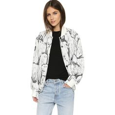 Opening Ceremony Komodor Quilted Varsity Jacket ($430) ❤ liked on Polyvore featuring outerwear, jackets, black multi, black varsity jacket, black quilted jacket, varsity bomber jacket, logo jackets and letterman jackets