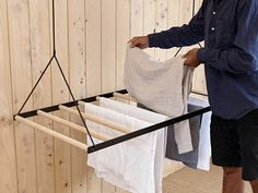Hanging Laundry Drying Rack – Sheila Maid – Laundry Hanging Rack – Clothing Airer – Wall / Ceiling M Laundry Hanging Rack, Hanging Drying Rack, Drying Rack Laundry, Hang Dry Clothes, Clothes Drying Racks, Drying Room, Journal Du Design, Pulley, Space Saving