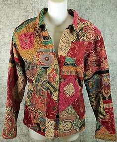 Chicos Floral Print Tapestry Blazer Jacket Womens Size 2