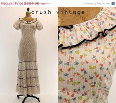 SALE 30s Pear Print Dress XS / 1930s Bias Cut by CrushVintage