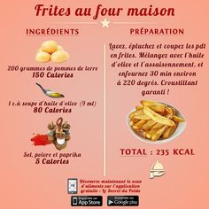 Oven French Fries, French Fries Recipe, Fries In The Oven, Healthy Diet Plans, Diet Meal Plans, Eating Healthy, Sixpack Training, Summer Diet, Calorie Counter