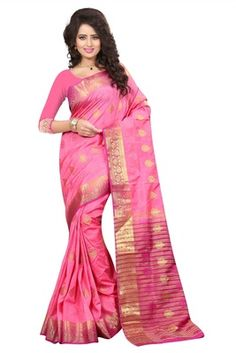 Pink printed art silk saree with blouse - FASHION - 1569385 Sabyasachi, Lehenga, Art Silk Sarees, Sonam Kapoor, Priyanka Chopra, Chiffon, Sari, Photoshoot, Gowns