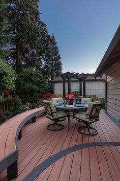 AZEK Vintage Collection decking in Cypress color with AZEK Impression Rail. Ask your contractor about curved decking. Curved Decking, Laying Decking, Easy Deck, Cool Deck, Deck Cost, Deck Colors, Deck Builders, Wooden Decks, Building A Deck