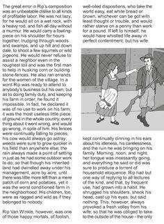 Character analysis essay rip van winkle