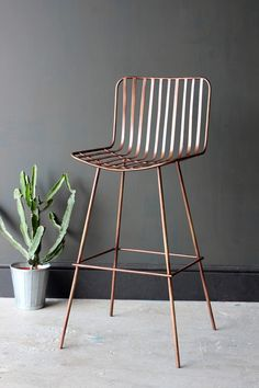 Midas Bar Stool - Dark Antique Copper - Furniture In love with these! Copper Bar Stools, Cool Bar Stools, Modern Bar Stools, Modern Chairs, Copper Furniture, Bar Furniture, Plywood Furniture, Furniture Online, Furniture Design