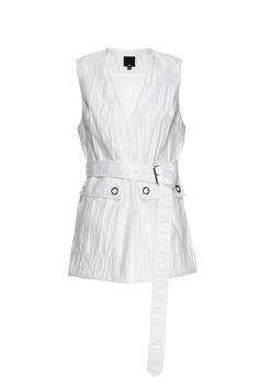 Crinkled White Sheen V Neck Vest Elongated Belt Double Pockets Grommets
