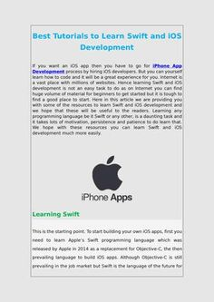 Best Tutorials to Learn Swift and #iOS #Development