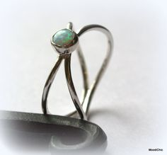 Sterling silver opal ring - silver double band ring 5mm opal ring october birthstone by MoodiChic on Etsy