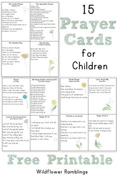 Prayer Cards for Children (or mamas!) FREE PRINTABLE -- from Wildflower Rambllings Prayers and how to pray Catholic Kids, Catholic Prayers, Kids Church, Catholic Catechism, Church Camp, Prayers For Children, Kids Prayer, Childrens Prayer, Spiritism