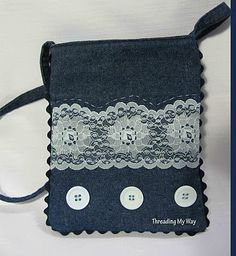cute denim and lace bag from threading my way