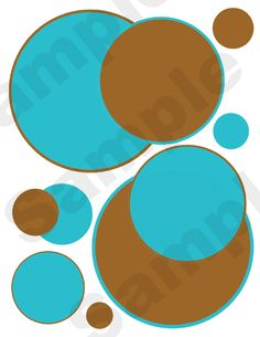 Turquoise Blue & Brown Polka Dots Circles Wall Stickers.