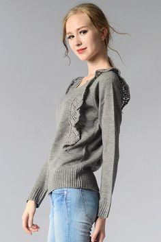 Ellady Sweet Trim Grey Round Neck Sweater