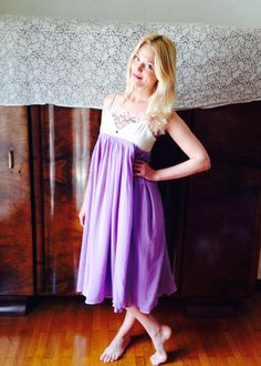 Lila Dress/Lavender Gauze Dress/Romantic by LydiaLoveVtg on Etsy