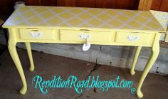 Rendition Road: Lovely Yellow Sofa Table  Love the Stencil on the Top