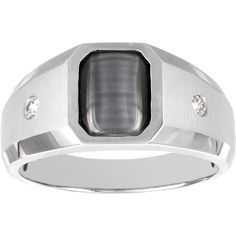 H Star 10k White Gold 1ct Cats Eye and 1/8ct TDW Diamond Men's Ring