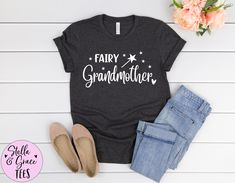 Fairy Grandmother Shirt, Grandparent Pregnancy Announcement. Gift for Grandmother, New Grandparent Gift, Grandma to be Shirt