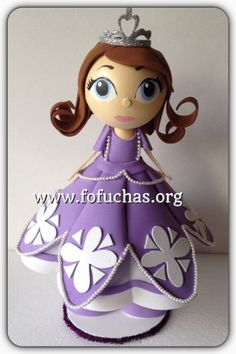 Inspired in Princess Sofia The First in fofucha doll. She is made using foam sheets. Stands at 12 inches. She can make a lovely Birthday centerpiece or cake topper. Keep it as a decoration in your child's room after birthday party. To order or for more info email info@fofuchas.org Make sure to visit us at www.facebook.com/FofuchasHandmadeDolls  #kidsBirthday #PrincessSofia #Disney #Fofuchas
