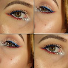 Captain America inspired makeup look. Perfect for Fourth of July/Memorial Day/Verterans Day/Etc.