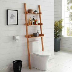 Haven™ No Tools Slim Bamboo Over-the-Toilet Space Saver Behind Toilet Storage, Toilet Shelves, Bathroom Storage Over Toilet, Bathroom Towels, Washroom, Bathroom Furniture, Home Furniture, Over The Toilet Cabinet, Over The Toilet Ladder