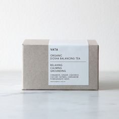 """""""Arran has redesigned our tea packaging and I upgraded the blends and we absolutely love them. This is our organic Vata Dosha Balancing Tea which is…"""" Candle Packaging, Food Packaging Design, Coffee Packaging, Pretty Packaging, Packaging Design Inspiration, Brand Packaging, Branding Design, Identity Branding, Corporate Design"""