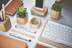 Get your best work done with the Desk Collection. Add design and function to your workspace with our modern and minimalist desk accessories. Office Table Accessories, Desk Accesories, Office Decor, Minimal Desk, Desk Redo, Desk Shelves, Wood Desk, Wood Wood, Desk Organization