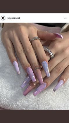 Installation of acrylic or gel nails - My Nails Aycrlic Nails, Glam Nails, Bling Nails, Hair And Nails, Cute Acrylic Nail Designs, Best Acrylic Nails, Coffin Acrylic Nails Long, Purple Nail Designs, Perfect Nails