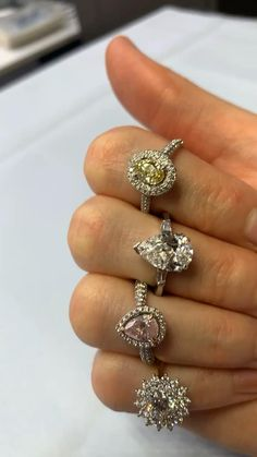 Wow! We love everything about these rings. The colors are wonderful, the diamonds shine bright. What else do you want? Look for more beautiful jewelry on our website. Diamond Rings, Diamond Jewelry, Jewelry Rings, Types Of Gemstones, Druzy Ring, Diamonds, Ear, Bright, Pure Products