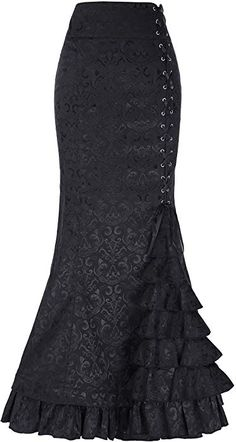 2b70df1be3ee GK Vintage Dress Girls Jacquard Floral Retro Victorian Steampunk Ruffled  Skirts Black Size 10 at Amazon Women s Clothing store