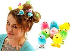 easter chick hair clips