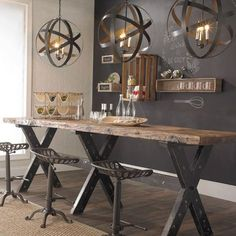 Dining Room decor ideas - industrial rustic bench table with metal saddle stools, chalkboard wall and metal globe lights | Shades of Light