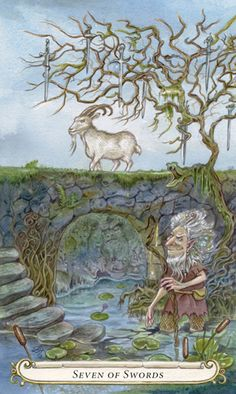 Seven of Swords - Billy Goats Gruff from Fairy Tale Tarot by Lisa Hunt My Fantasy World, Fantasy Art, Tarot Rider Waite, Tarot Learning, Lisa, Tarot Spreads, Fairytale Art, Mural Art, Murals