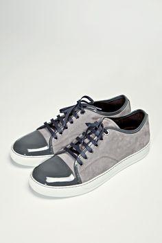 Lanvin Patent Sneaker Grey Suede