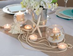 Sand, Pearls and Starfish Wedding Party Ideas Dream 2 Reality Events's Wedding / Sand, Pearls and Starfish - Photo Gallery at Catch My Party Beach Table Decorations, Beach Wedding Centerpieces, Wedding Reception Decorations, Wedding Ideas, Trendy Wedding, Bowl Centerpieces, Beach Party Decor, Starfish Wedding Decorations, Nautical Centerpiece