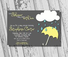Printable Baby Shower Invites -  Mommy to Be, Customized, Baby Shower Invitation with Rain Drops, Cloud, Umbrella