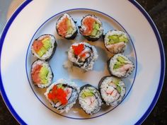 Around the World in 30 Plates: Japan - Dinner - Sushi. Step by step process for Japanese sushi - California, shrimp and inside out rolls.